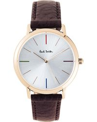 Paul Smith - P10101 Ma Rose-gold And Leather Watch - Lyst