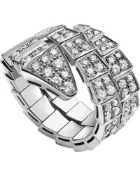 BVLGARI - White Gold And Diamond Serpenti Ring - Lyst