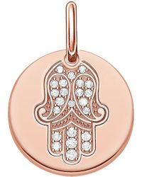 Thomas Sabo - Hand Of Fatima 18ct Rose Gold Plated Sterling Silver Pendant - Lyst