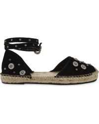 The Kooples - Embellished Daisy Suede Espadrilles - Lyst
