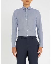 Emporio Armani - Houndstooth-patterned Cotton Shirt - Lyst