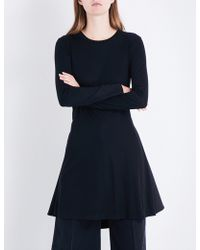 Miharayasuhiro - Ladies Black Pleated-back Jersey And Poplin Shirt - Lyst