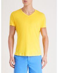 Orlebar Brown - V-neck Cotton T-shirt - Lyst