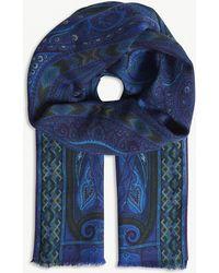 Etro - Paisley Geometric Print Wool-silk Scarf - Lyst