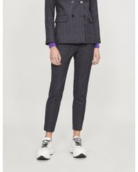 Sandro - Cropped High-rise Checked Wool-blend Straight-leg Trousers - Lyst