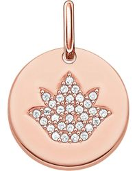 Thomas Sabo - Love Coin Rose Gold-plated Sterling Silver Engravable Lotus Pendant - Lyst