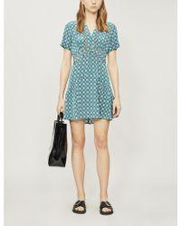 Sandro - Geometric-print Short-sleeved Satin Mini Dress - Lyst