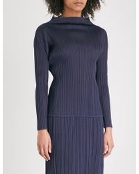 Pleats Please Issey Miyake - Basics High-neck Pleated Top - Lyst