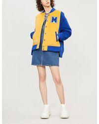 Mini Cream - Two-tone Fleece Bomber Jacket - Lyst