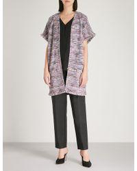 St. John - Anna Fringed-trim Knitted Cardigan - Lyst