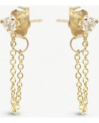 The Alkemistry - Zoë Chicco 14ct Yellow-gold And Diamond Chain Earrings - Lyst
