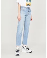 RE/DONE - Stove Pipe Cropped Straight High-rise Jeans - Lyst