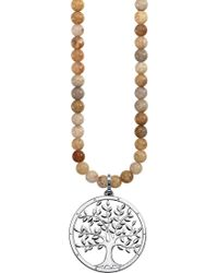 Thomas Sabo - Tree Of Life 18ct Rose Gold-plated Sterling Silver And Jasper Necklace - Lyst