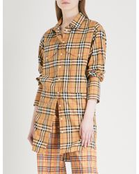 Burberry - Oversized Checked Cotton Shirt - Lyst