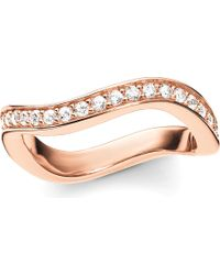 Thomas Sabo - Glam & Soul Wave 18-carat Rose-gold Plated Sterling Silver And Pavé Zirconia Midi Eternity Ring - Lyst