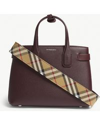 Burberry - Mahogany Red Check Banner Small Grained Leather Tote Bag - Lyst