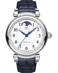 Iwc - Iw459306 Da Vinci Automatic Moon Phase 36 Stainless Steel And Leather Watch - Lyst