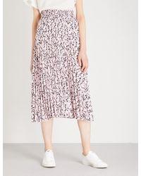 Maje | Javina Pleated Crepe Midi Skirt | Lyst