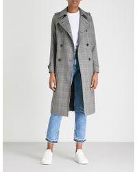 Sandro - Checked-pattern Woven Coat - Lyst