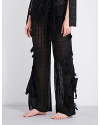 Aimee Kestenberg - Floral-embroidered Pyjama Trousers - Lyst