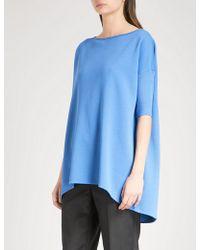 St. John | Boat-neck Wool-blend Top | Lyst