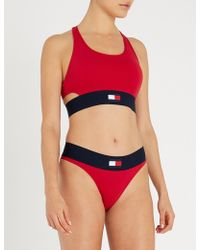 cba35a1d6a Lyst - Tommy Hilfiger Logo-underband Stretch-cotton Bra in Red
