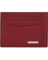BOSS - Signature Leather Card Holder - Lyst