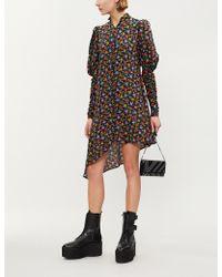 The Kooples - Asymmetric Balloon-sleeve Floral-print Silk Mini Dress - Lyst