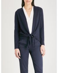 The White Company - Knot-front Wool And Cotton-blend Cardigan - Lyst