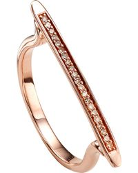 Monica Vinader - Skinny 18 Ct Rose Gold-plated Vermeil And Diamond Ring - Lyst