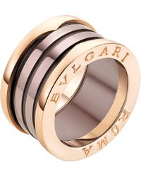 BVLGARI - B.zero1 Roma Four-band 18kt Pink-gold And Bronze Ceramic Ring - Lyst