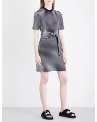 Mo&co. - Text-embroidered Self-tie Stretch-cotton Mini Dress - Lyst