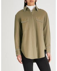 Mo&co. - Oversized Studded Cotton Shirt - Lyst