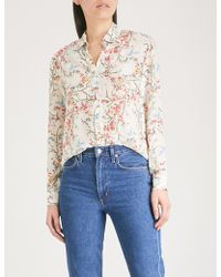 The Kooples - Floral And Bird Print Silk-crepe Blouse - Lyst