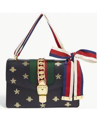 d86821fea6c Lyst - Gucci Sylvie GG Shoulder Bag Small Velvet Black in Black