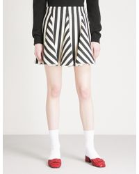 Valentino - Striped Wool And Silk-blend Mini Skirt - Lyst