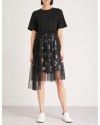 Izzue - Mesh-overlay Jersey Dress - Lyst