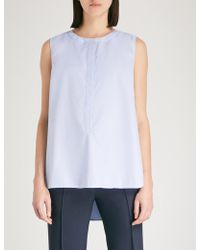 St. John - Bead-embellished Sleeveless Cotton Shirt - Lyst