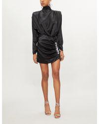 Alessandra Rich - Silk Satin Dress With Crystals - Lyst