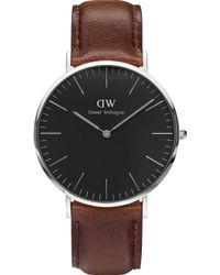 Daniel Wellington - Classic Black St. Mawes Leather And Stainless Steel Watch - Lyst