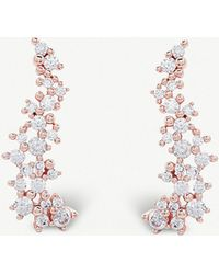 Kendra Scott - Petunia 14ct Rose Gold-plated And Cubic Zirconia Climber Earrings - Lyst