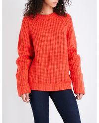 FRAME - Large Cuffed Raglan Chunky-knit Jumper - Lyst