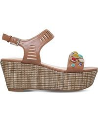 Nine West - Feeah Wedge Leather Sandals - Lyst