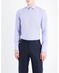 Eton of Sweden - Micro Geometric-patterned Slim-fit Cotton-poplin Shirt - Lyst