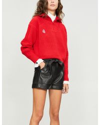 Maje - Leather Self-tie Shorts - Lyst