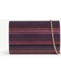 Kurt Geiger - Purple Party Glitter Stripe Box Clutch Bag - Lyst