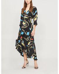 Diane von Furstenberg - Asymmetric Silk Midi Dress - Lyst