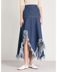 Ksenia Schnaider - Dramatic Cutouts High-rise Denim Skirt - Lyst