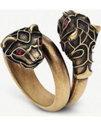 Gucci - Tiger Head Swarovski Crystal Metal Wrap Ring - Lyst