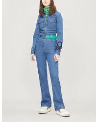 Benetton Contrast-belt Stretch-denim Jumpsuit